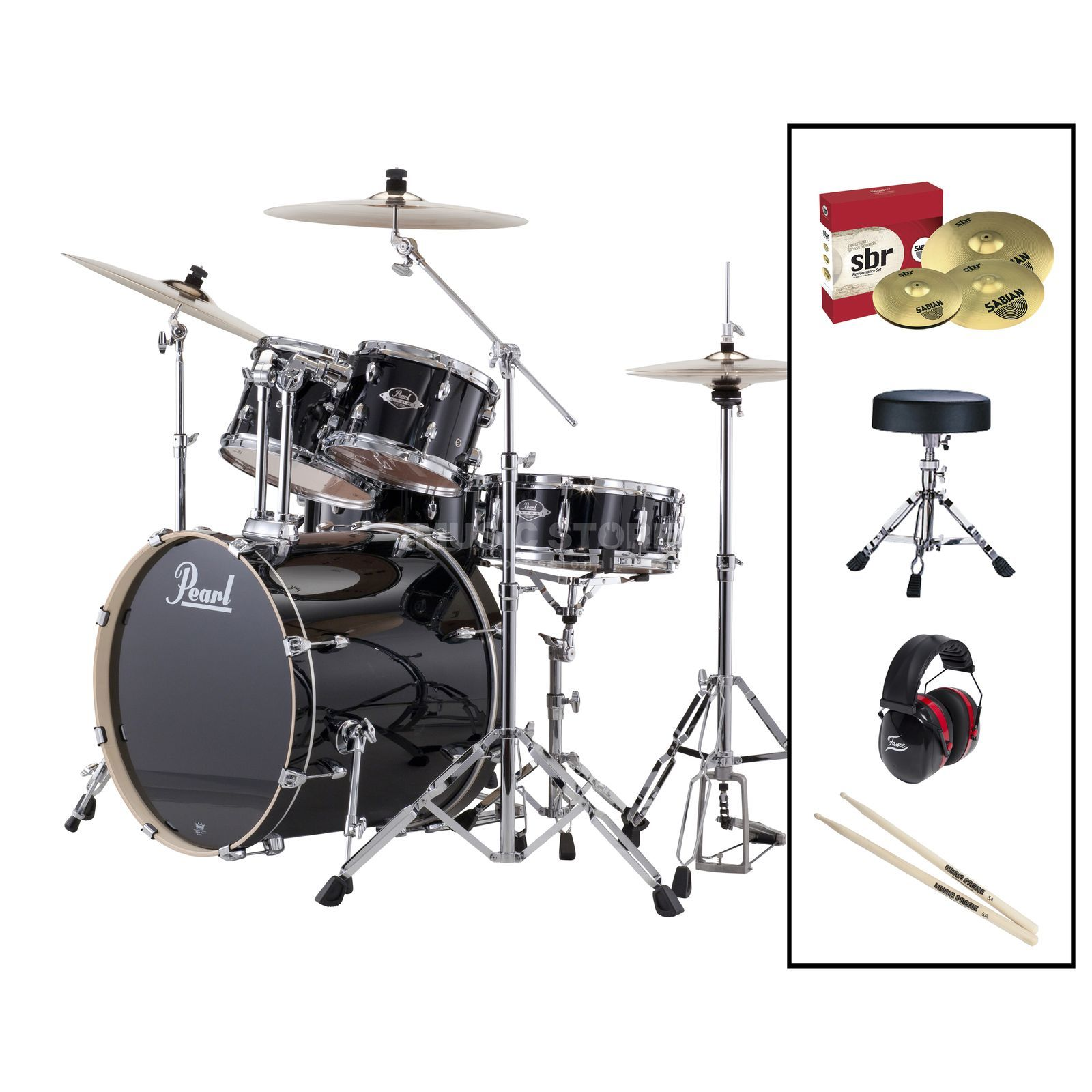 SET Pearl Export 725Z/C-31 inkl. Hocker, Gehörschutz & Sticks Produktbillede