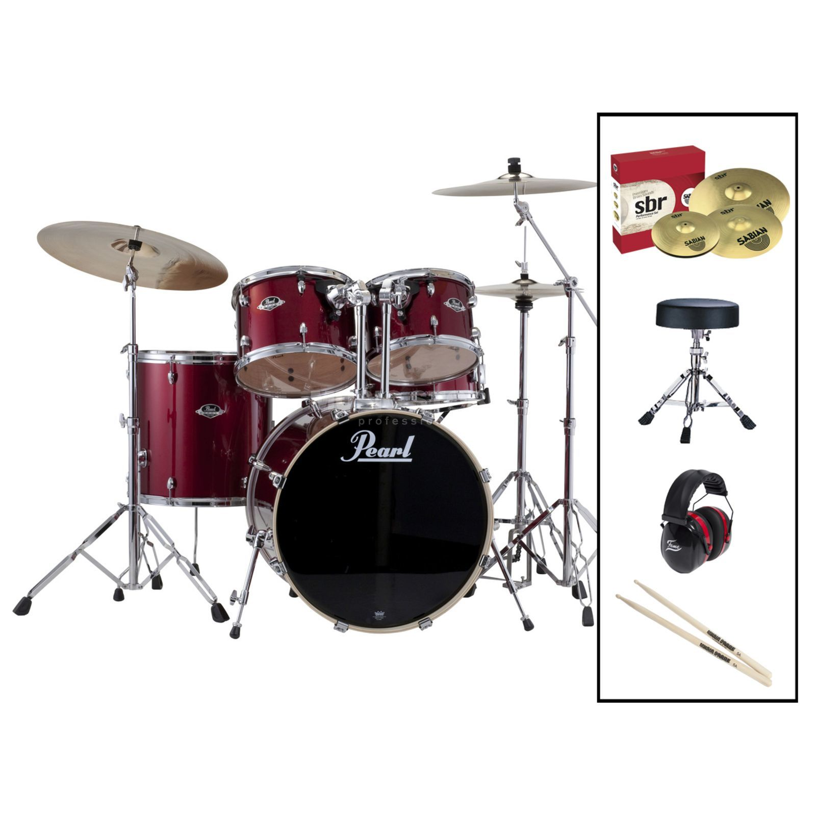 SET Pearl Export 725Z/C-91 inkl. Hocker, Gehörschutz & Sticks Produktbillede