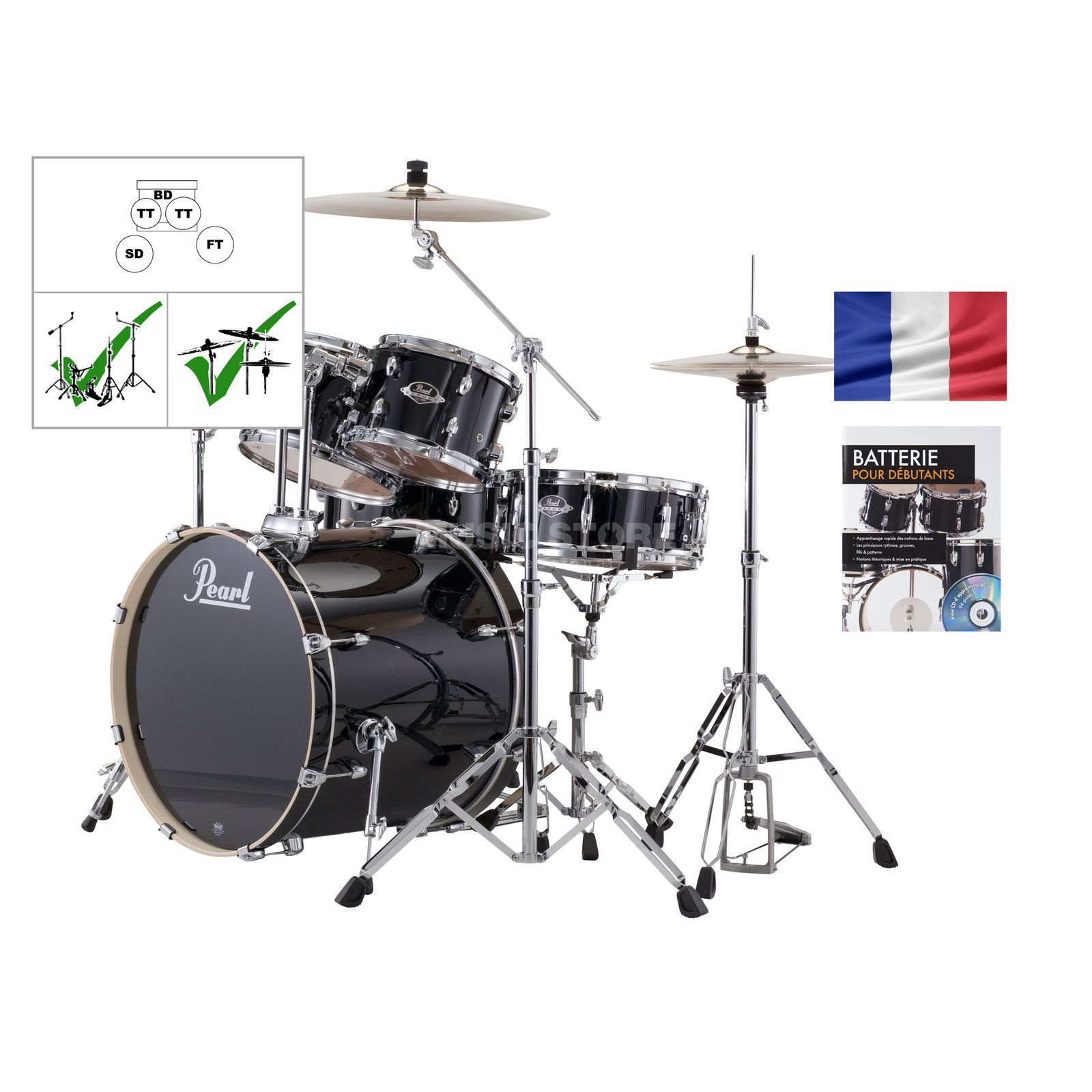 SET PEARL Export Batterie EXX725Z /C, #Jet Black + partitions Produktbild