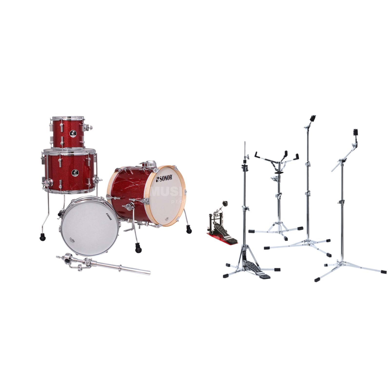 SET SONOR Martini Red inkl. Flat Base Hardware Produktbillede