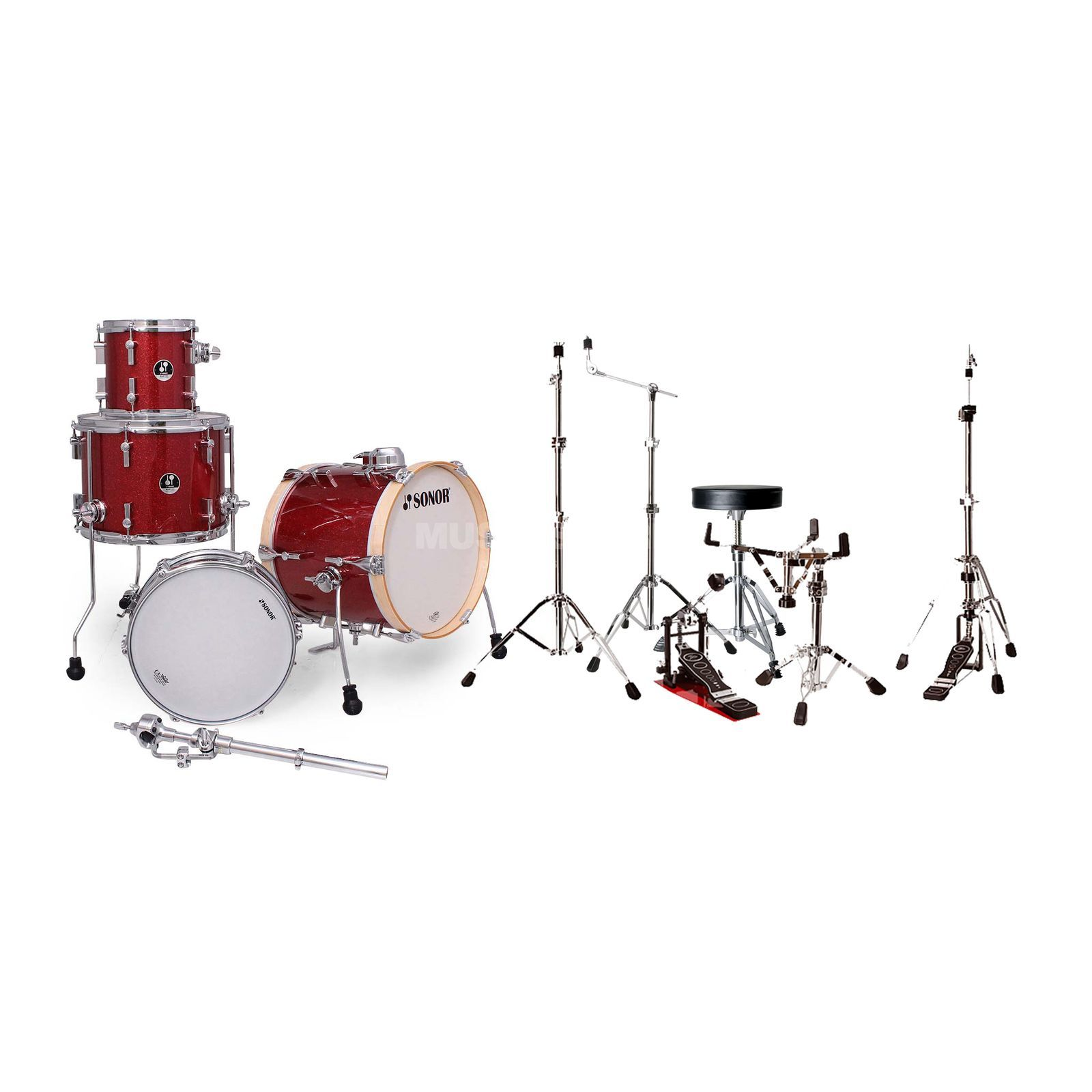 SET SONOR Martini Set Red Galaxy Bundle, inkl. Hardware +Hocker Produktbillede