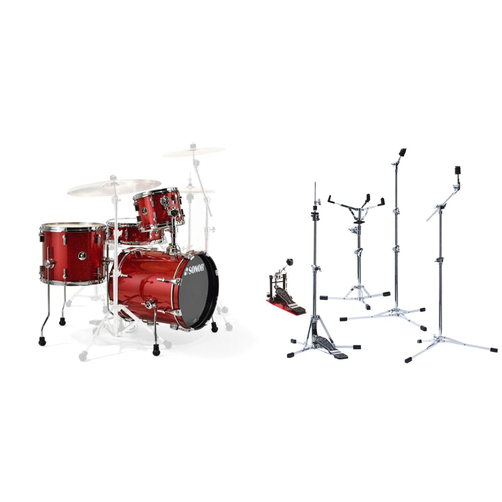 SET SONOR Safari Red inkl. Flat Base Hardware Produktbild