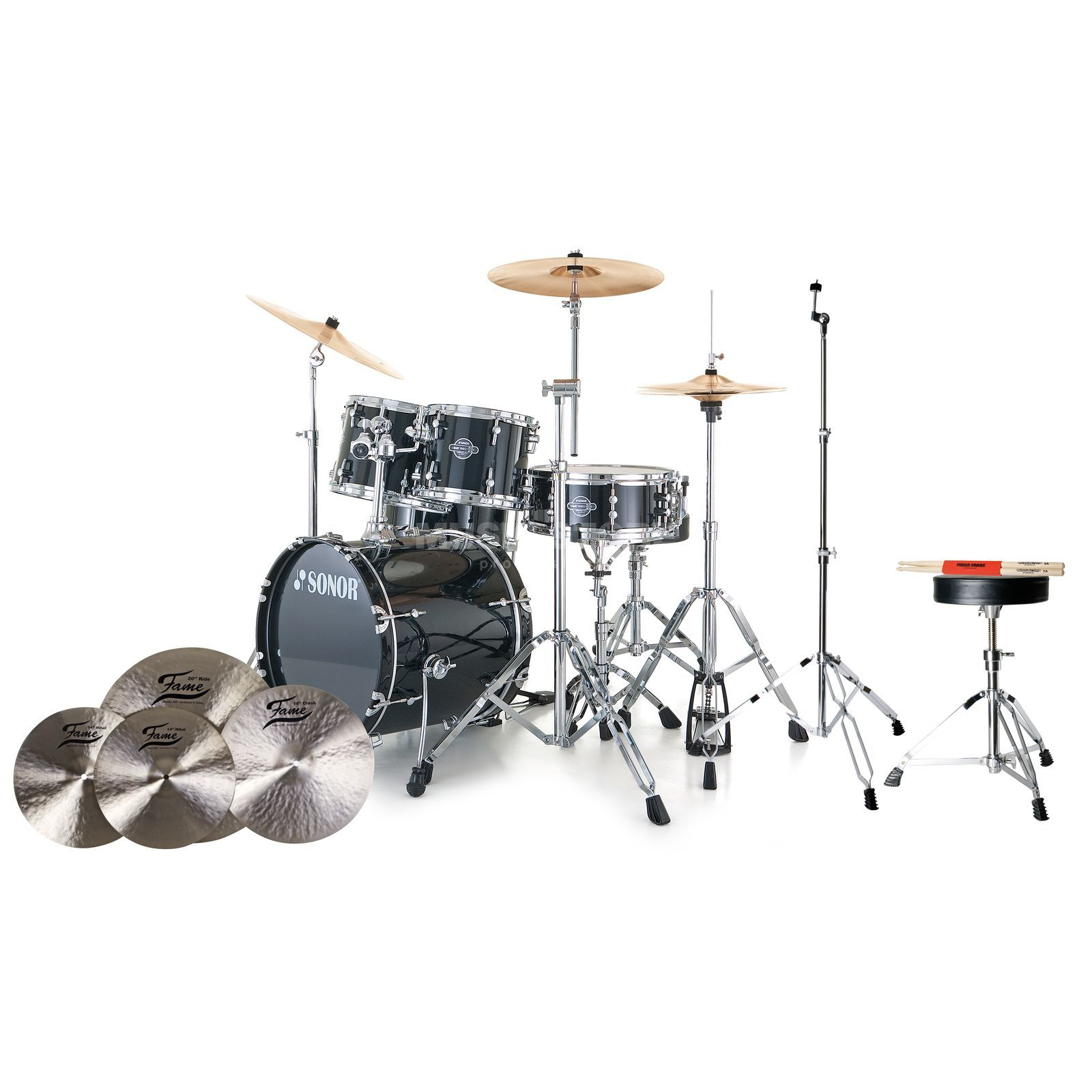 SET SONOR Smart Force Stage 2 #BK + B20 Becken, Hocker & Sticks Produktbild