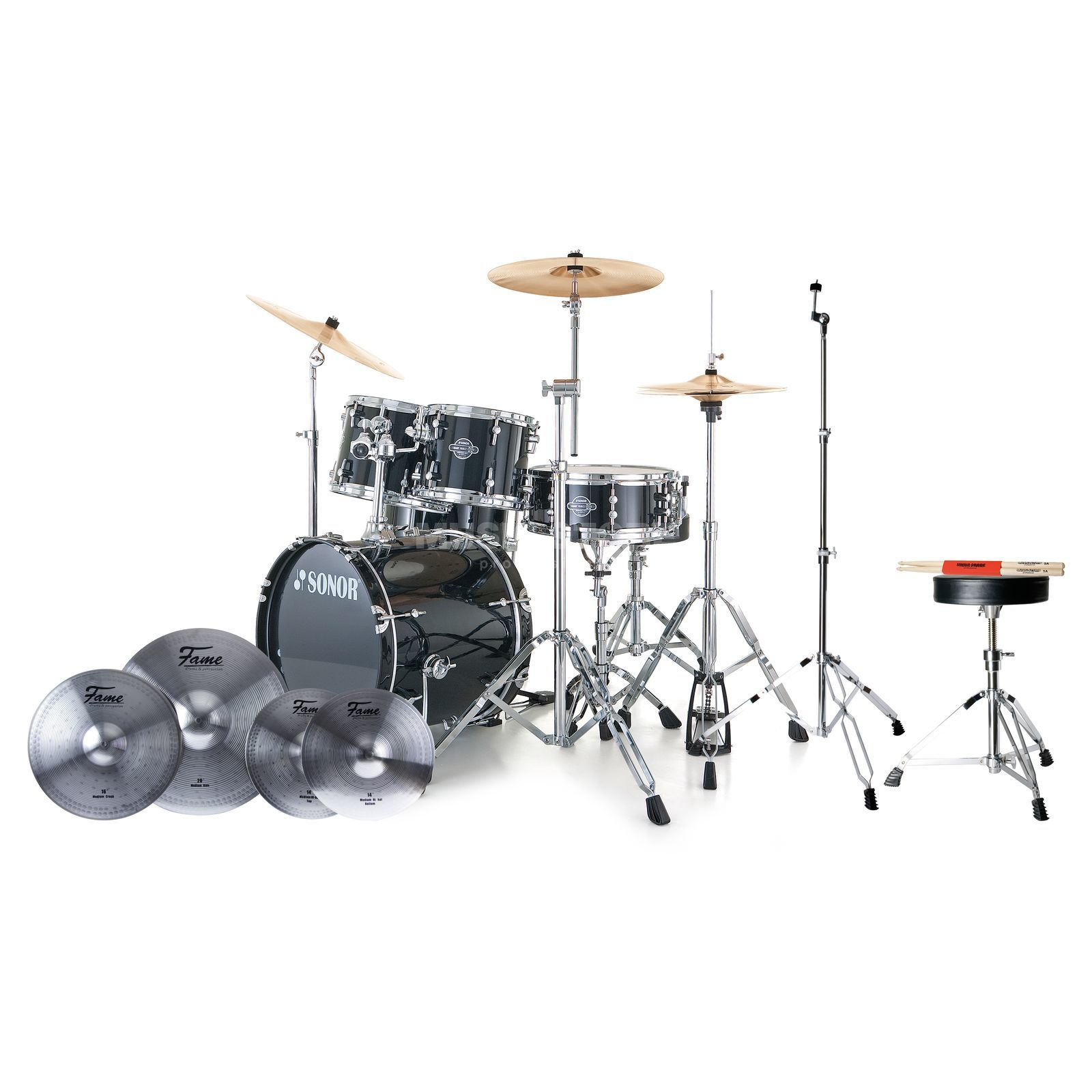 SET SONOR Smart Force Stage 2 #BK + Becken, Hocker & Sticks Produktbild