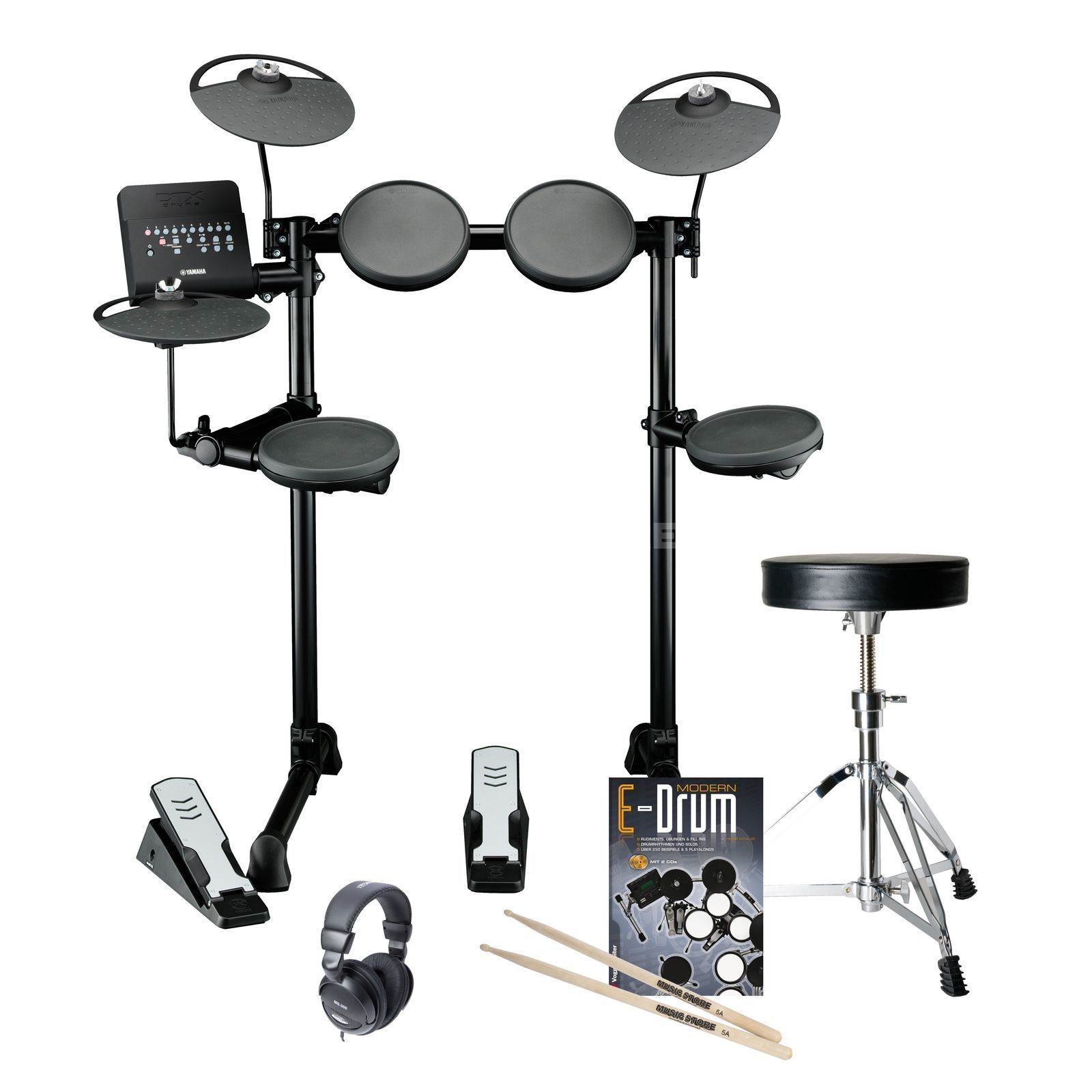 SET YAMAHA DTX400K E-Drum Bundle, inkl. Hocker,Kopfh.,Stix,Noten Produktbillede