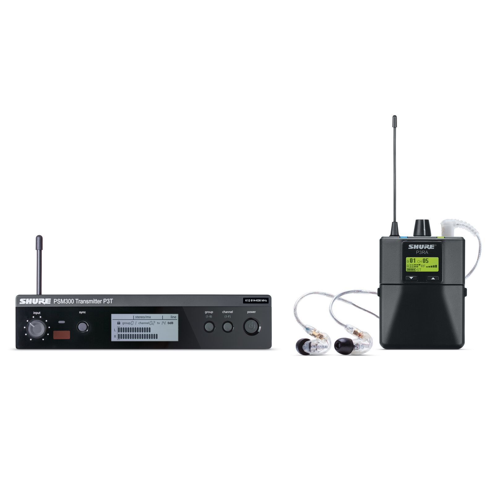 Shure PSM 300 System P3TRA215CL, S8 withMetal Reciever+ SE215 Ear Phones Produktbillede