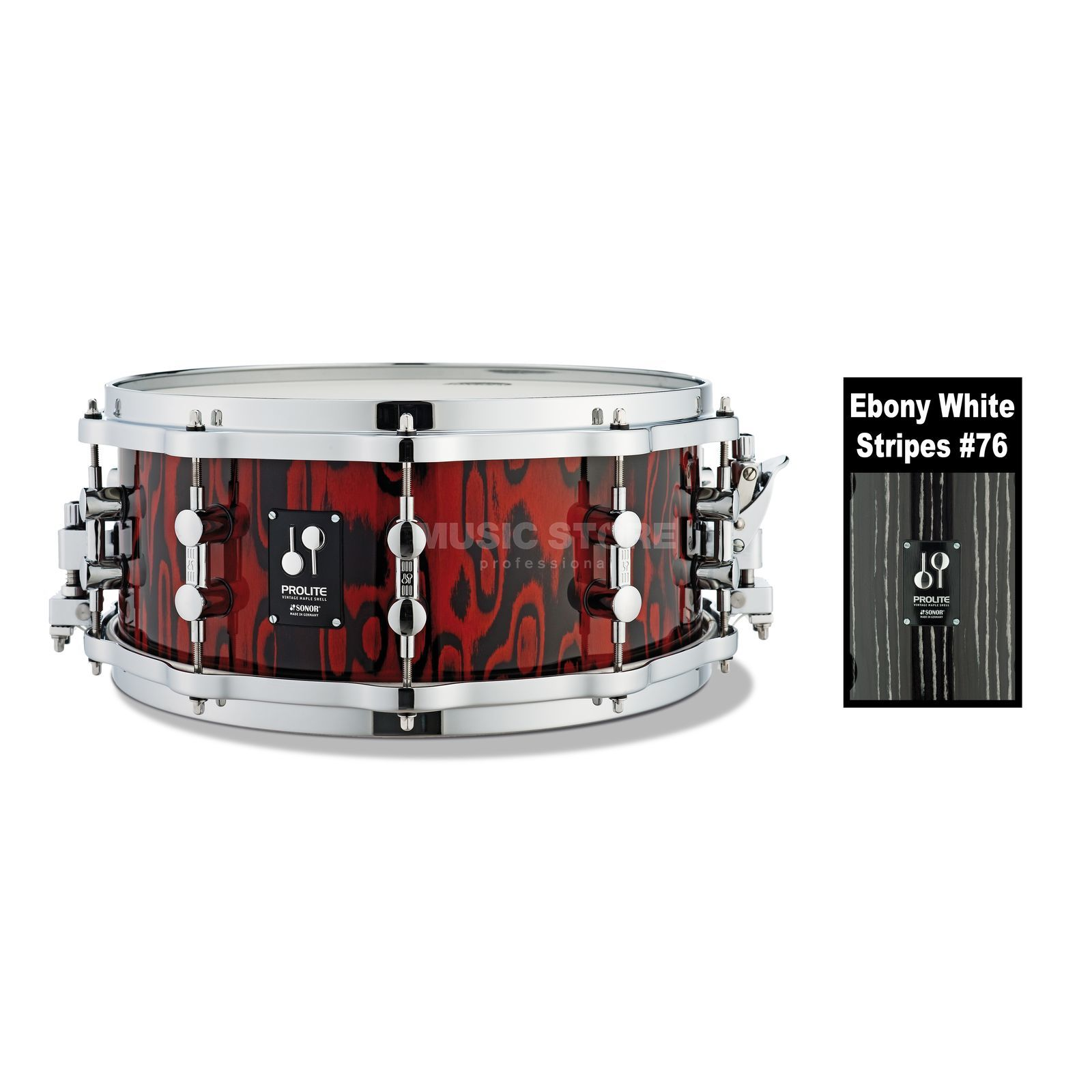 "Sonor ProLite Snare PL 12 1406 SDWD, 14""x6"",Ebony wit Stripes #76 Productafbeelding"