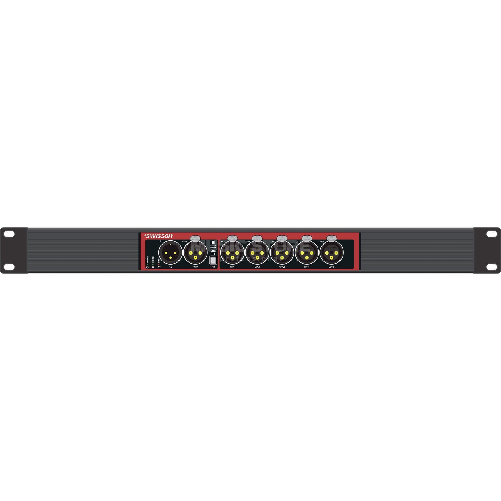 "Swisson X-SP-3R DMX Splitter Single 19"", 3pole in/3 thru/5x3pole out Produktbillede"