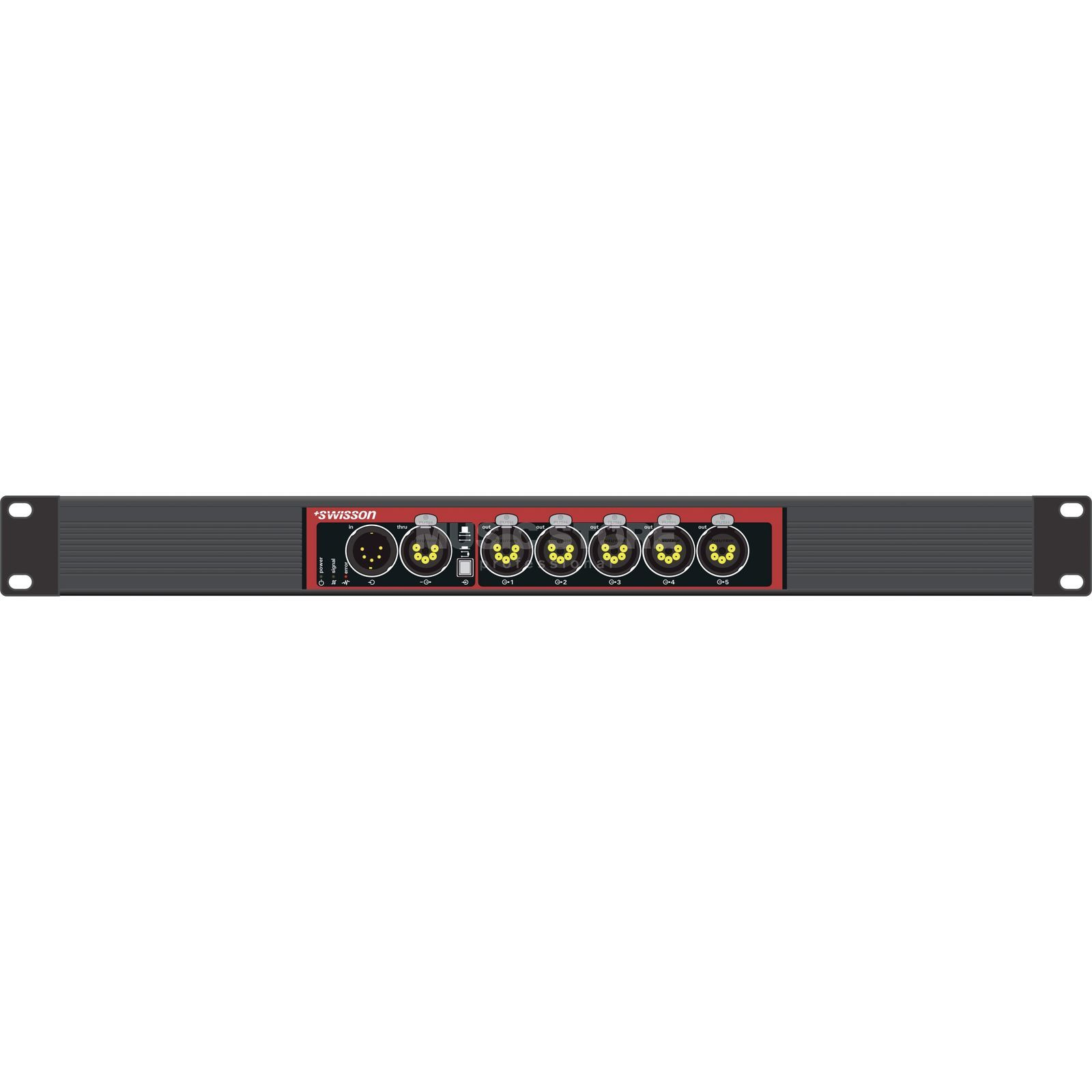 "Swisson X-SP-5R DMX Splitter Single 19"", 5pol in/5thru/5x 5pol out Produktbild"