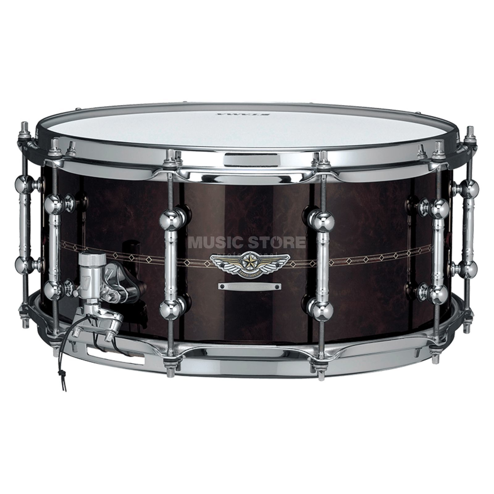 "Tama Star Reserve Snare 14""x6,5 TBWS1465S-GCW Walnut/Bubinga/Maple Gloss Claro Walnut Product Image"