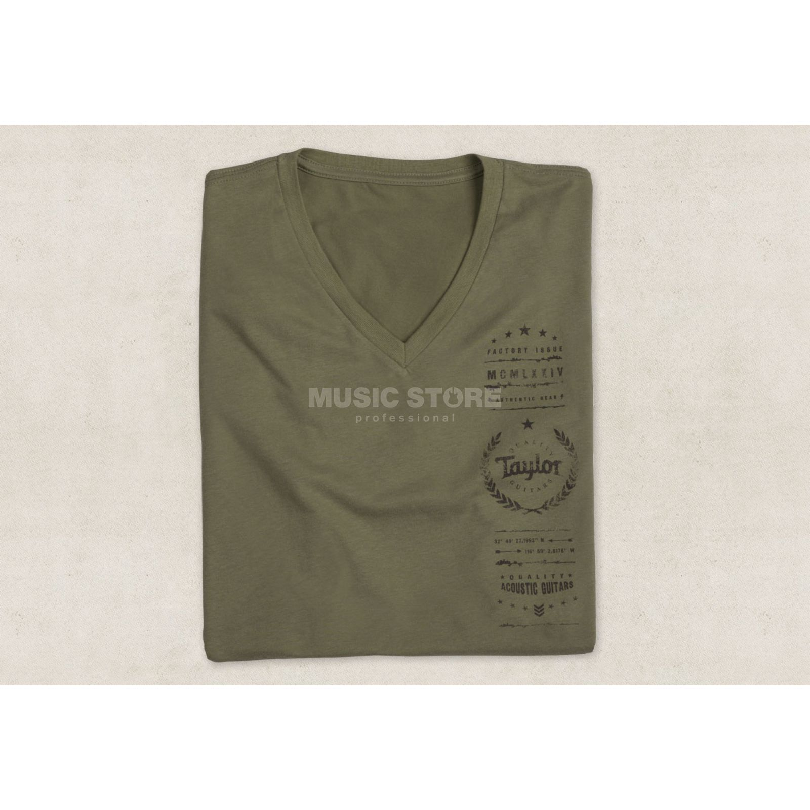 Taylor Men's Factory Issue T-Shirt M V-Neck Olive Produktbillede