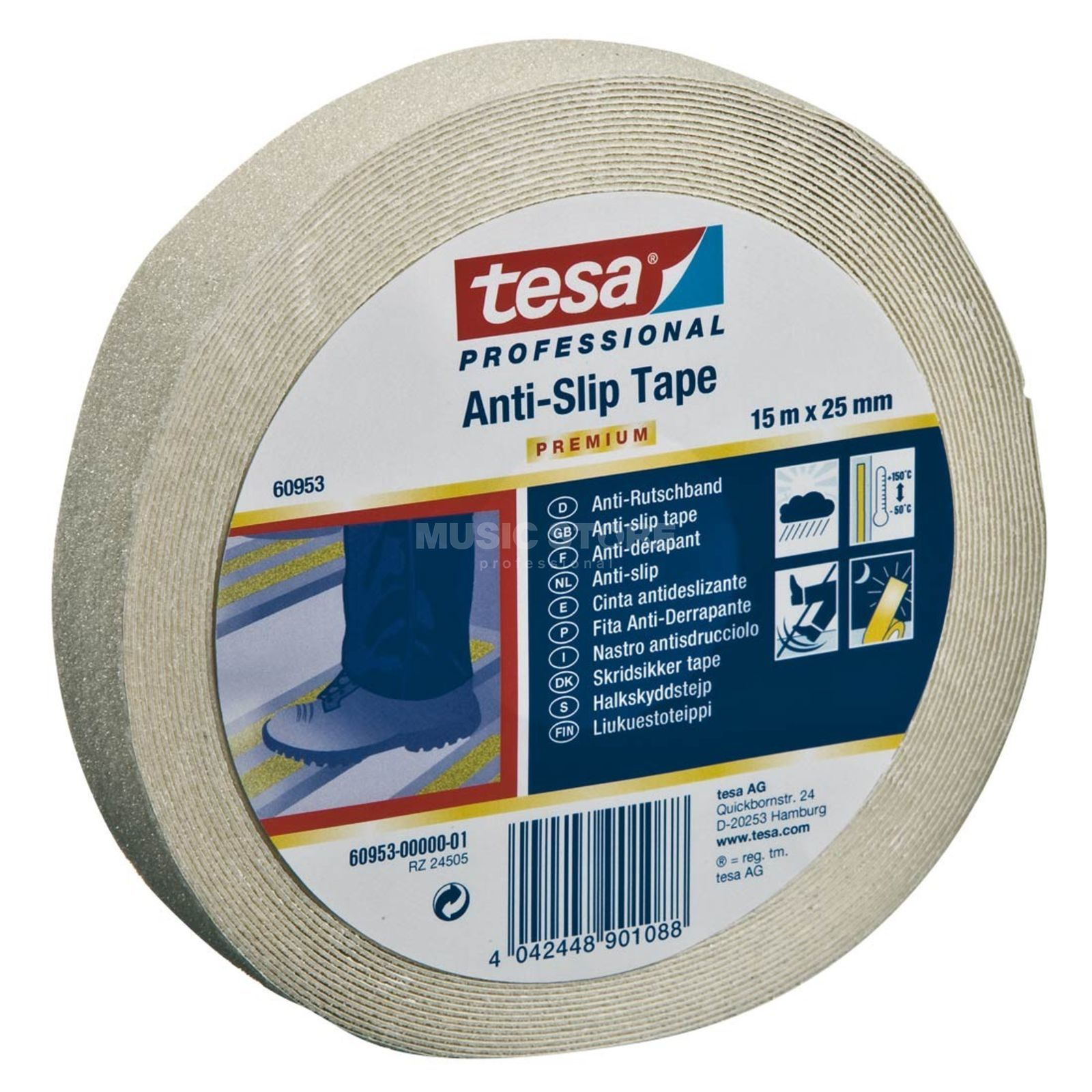 Tesa Antirutsch Gaffa Tape 60952 transparent, 15 m, 25 mm Produktbild