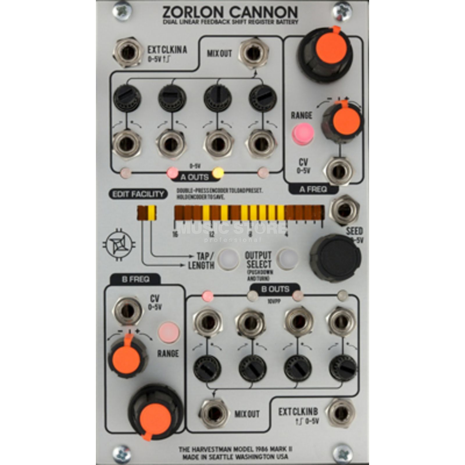 The Harvestman Zorlon Cannon MK2 Dual-Clock LFSR Battery Produktbillede