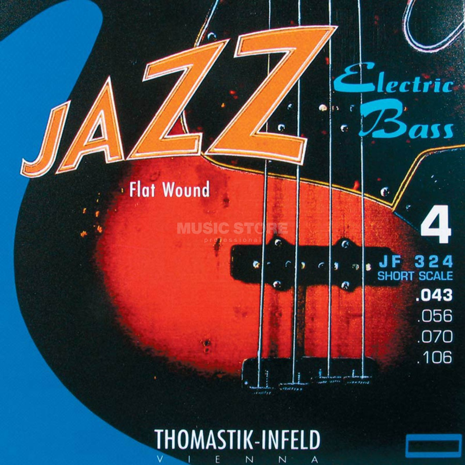 Thomastik 4 Bass Strings JF 324 43-106 Nickel Flat Wound, Short Scale Imagem do produto