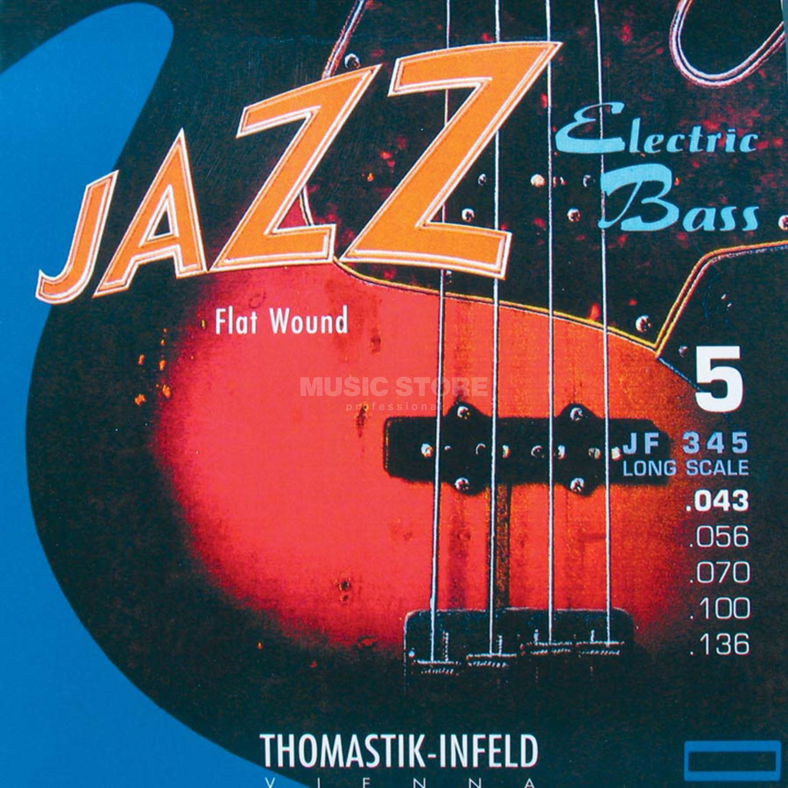 Thomastik 5 Bass Strings JF 345 43-136 Nickel Flat Wound Imagem do produto