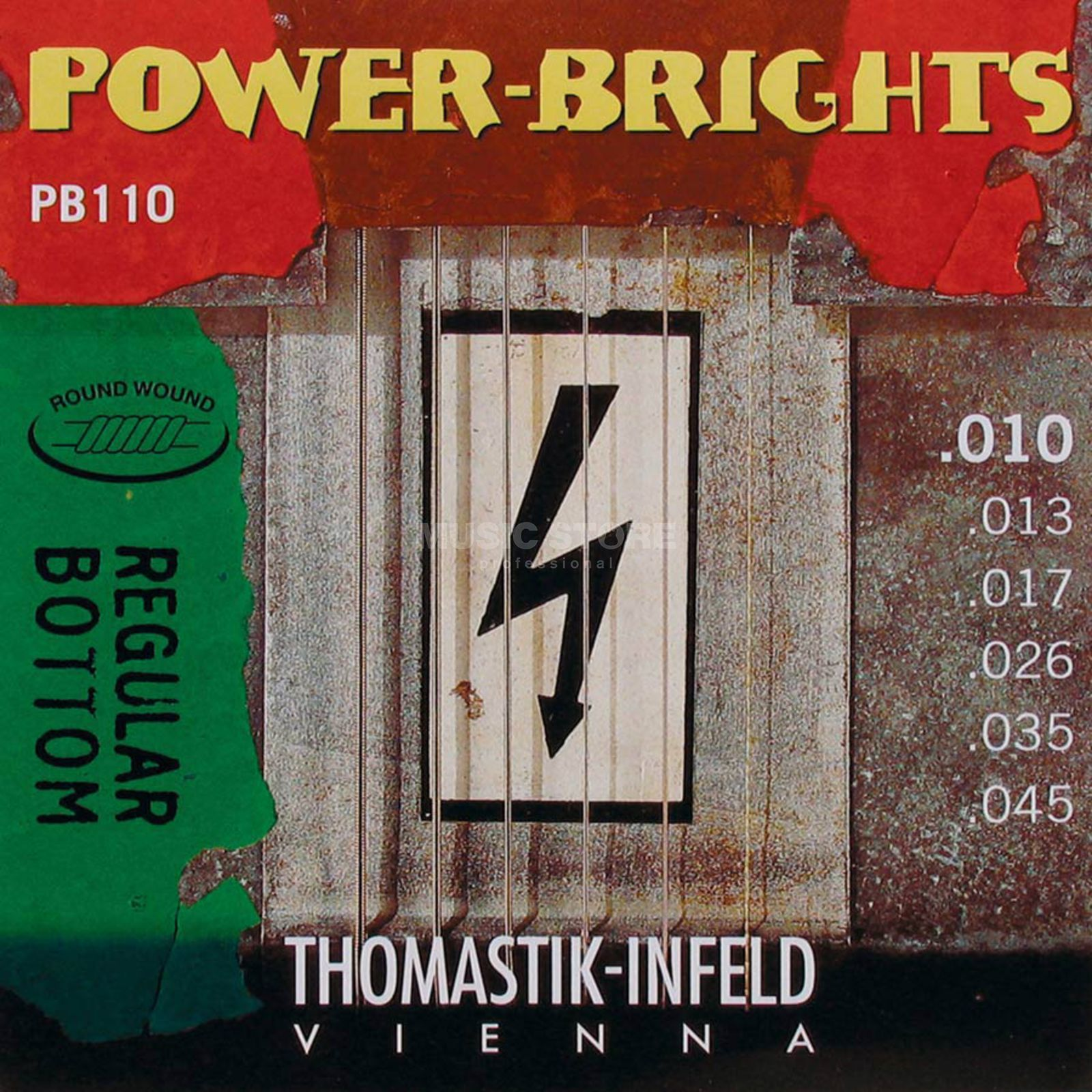Thomastik E-Guitar Strings PB 110 10-45 Power Brights Regular Bottom Produktbillede