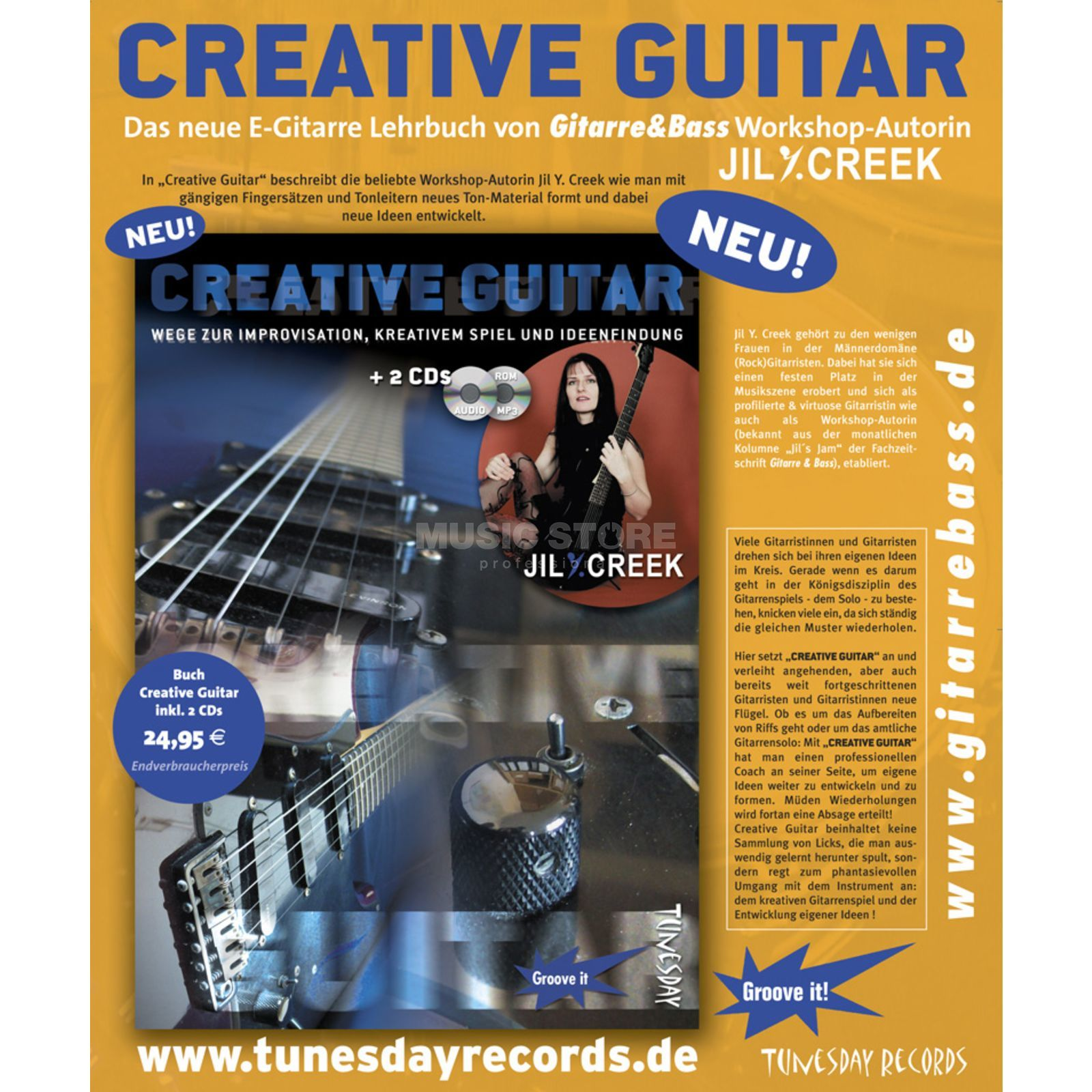 Tunesday Creative Guitar Jill Y. Creek, Buch und 2 CDs Produktbillede