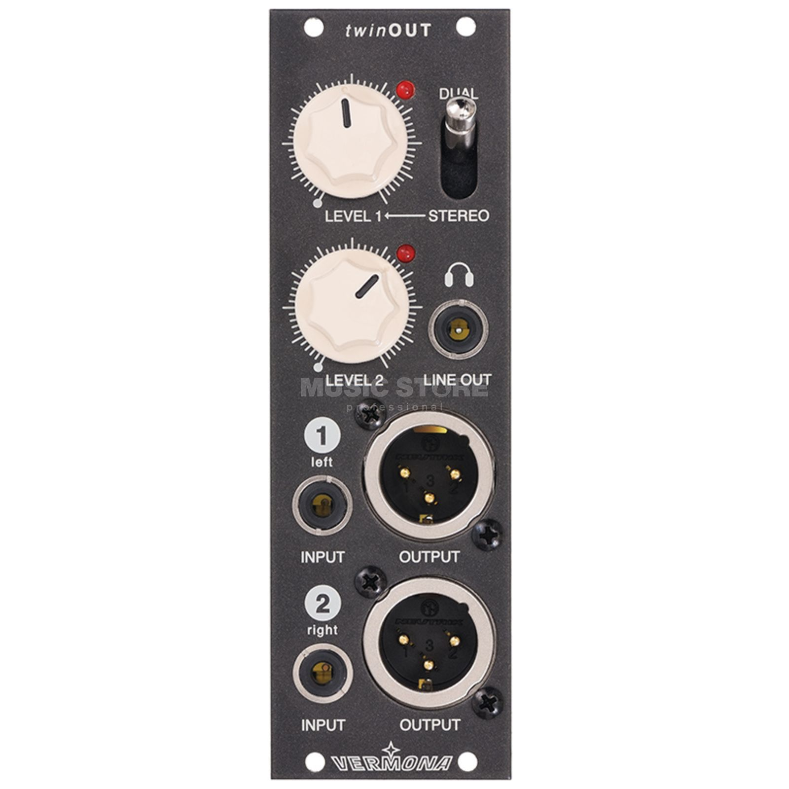 Vermona Modulear Twin Out DI Module, (Headp.) Stereo out Produktbillede