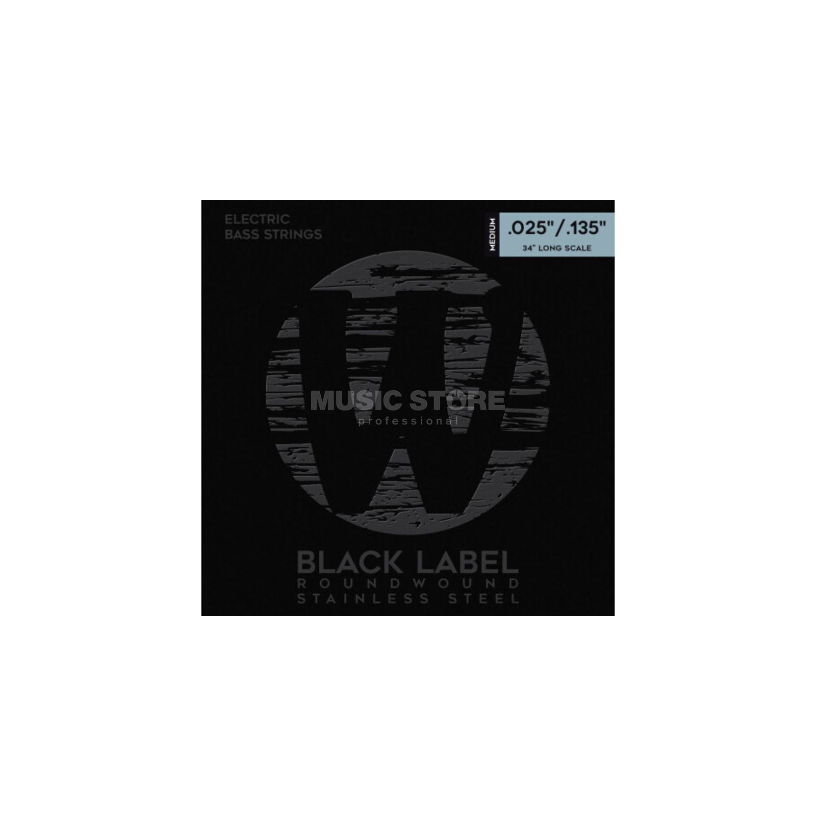 Warwick Bass Strings,25-135,Black 6 string set, Stainless Steel Product Image