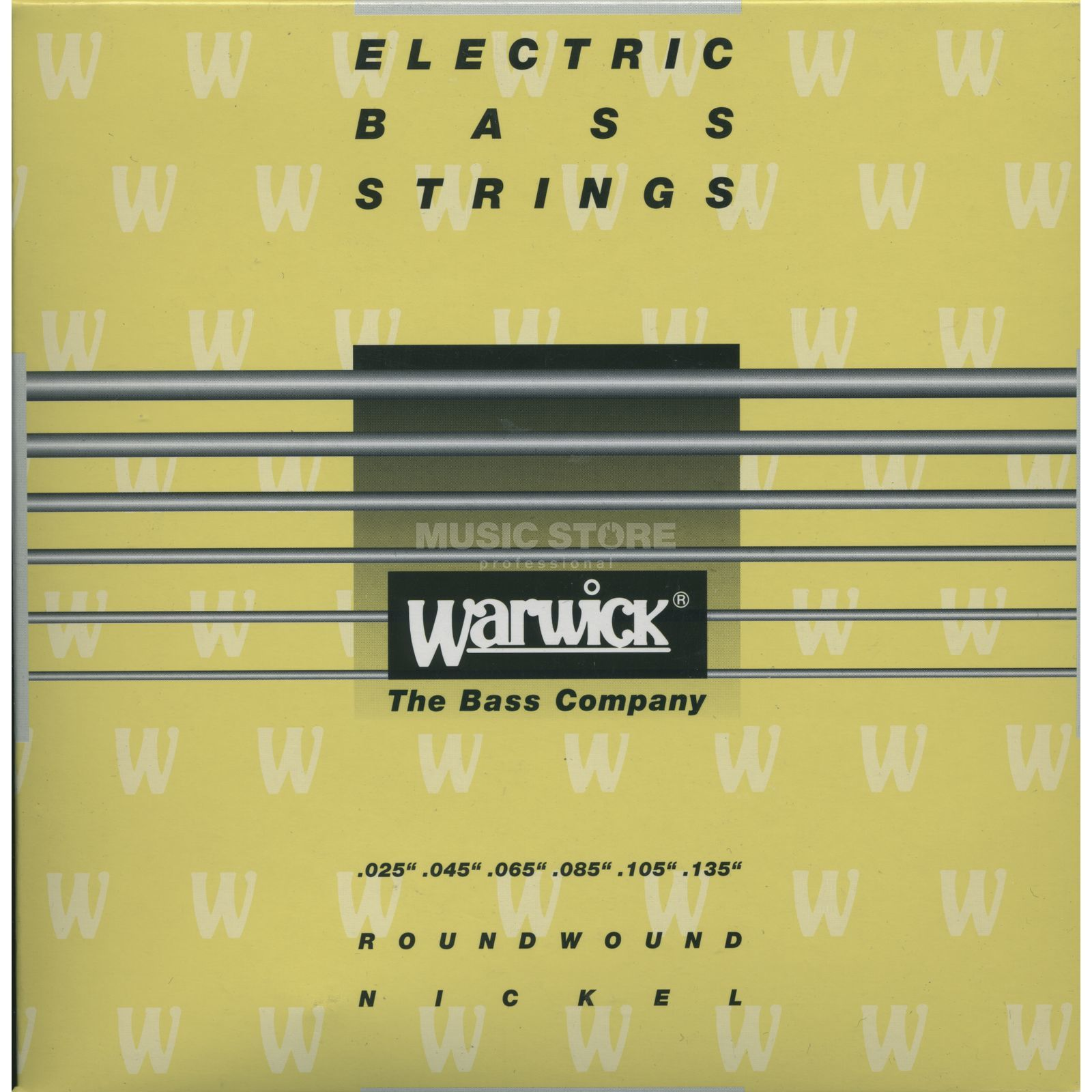 Warwick Bass Strings, 25-135, Yellow 6 String Set, Nickel Strings Produktbillede