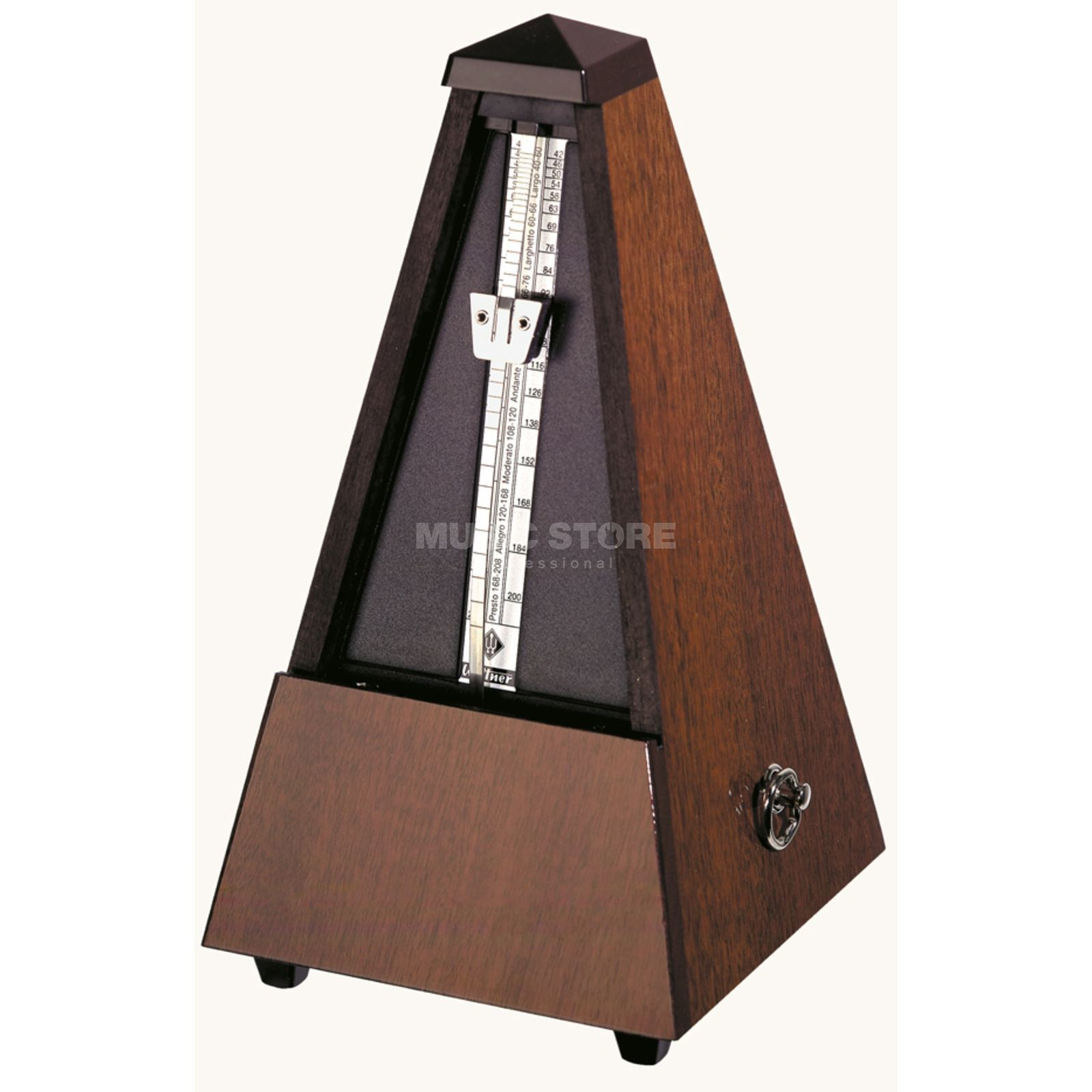Wittner M 814 M Metronom with Bell Walnut Body, Pyramid Form Produktbillede