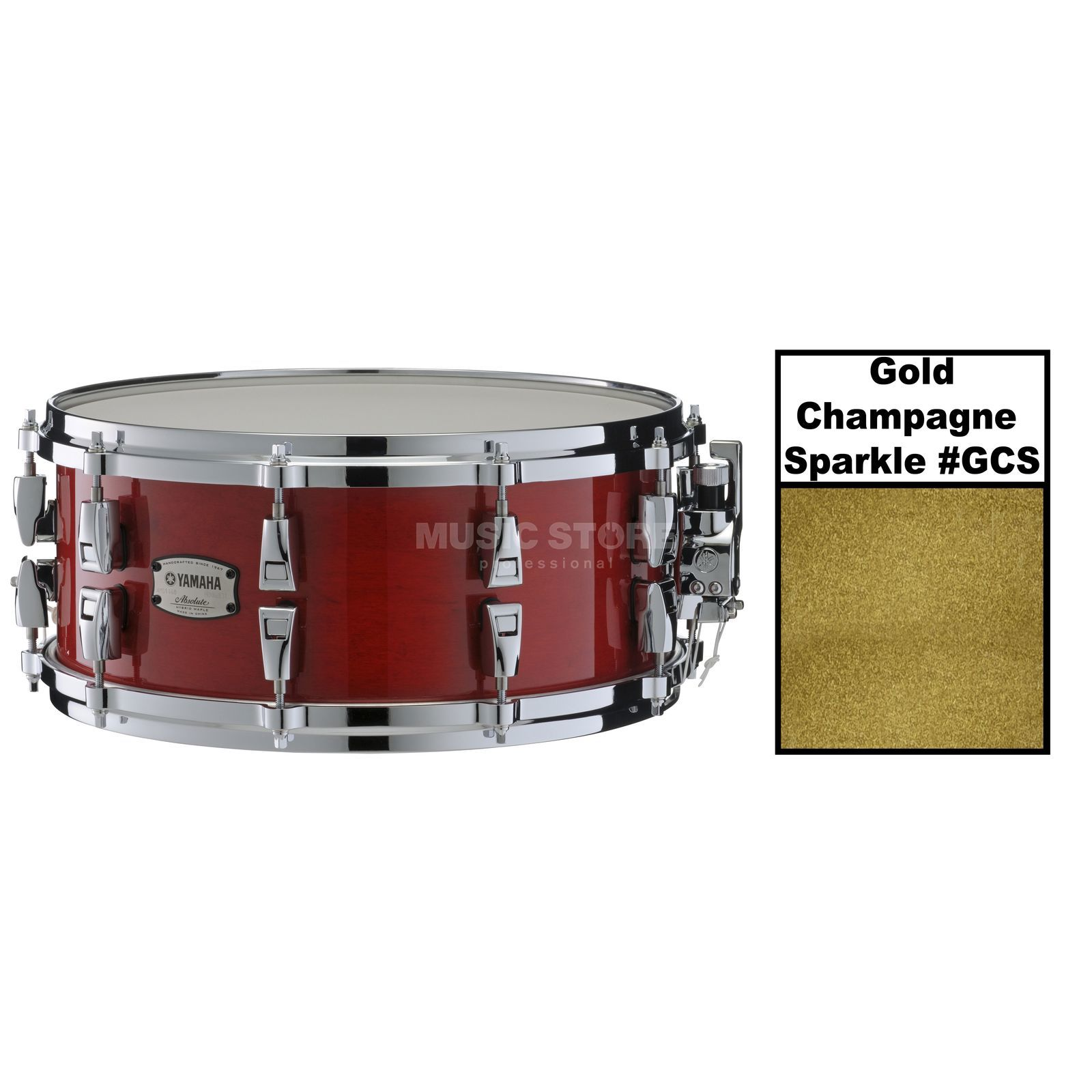 "Yamaha Absolute Maple Hybrid Snare 14""x6, Gold Champagne Sparkle Produktbillede"