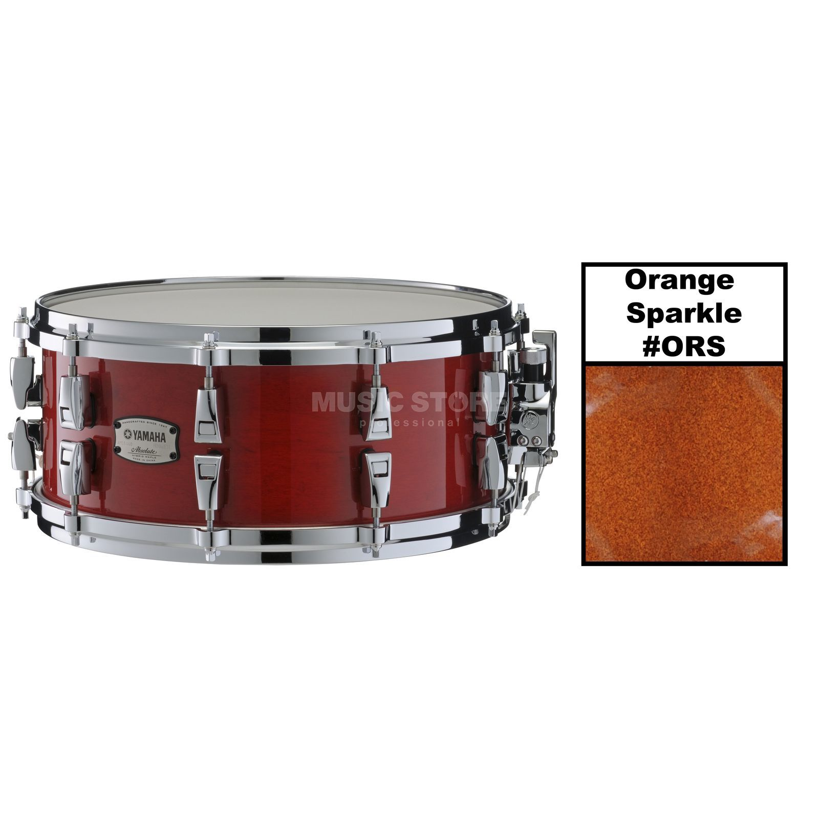 "Yamaha Absolute Maple Hybrid Snare 14""x6, Orange Sparkle #ORS Produktbillede"