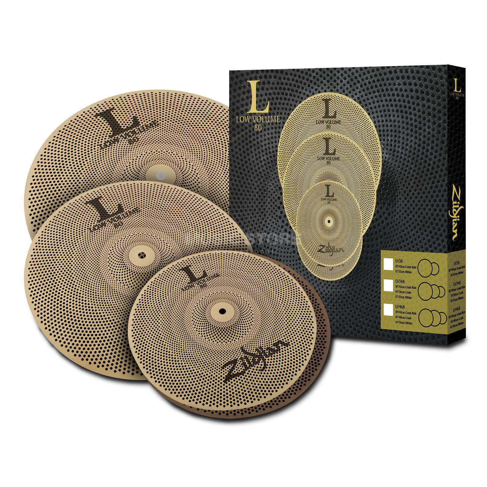 "Zildjian Low Volume Serie 468 Set, 14"" HiHat, 16"" Crash, 18"" Ride Produktbild"