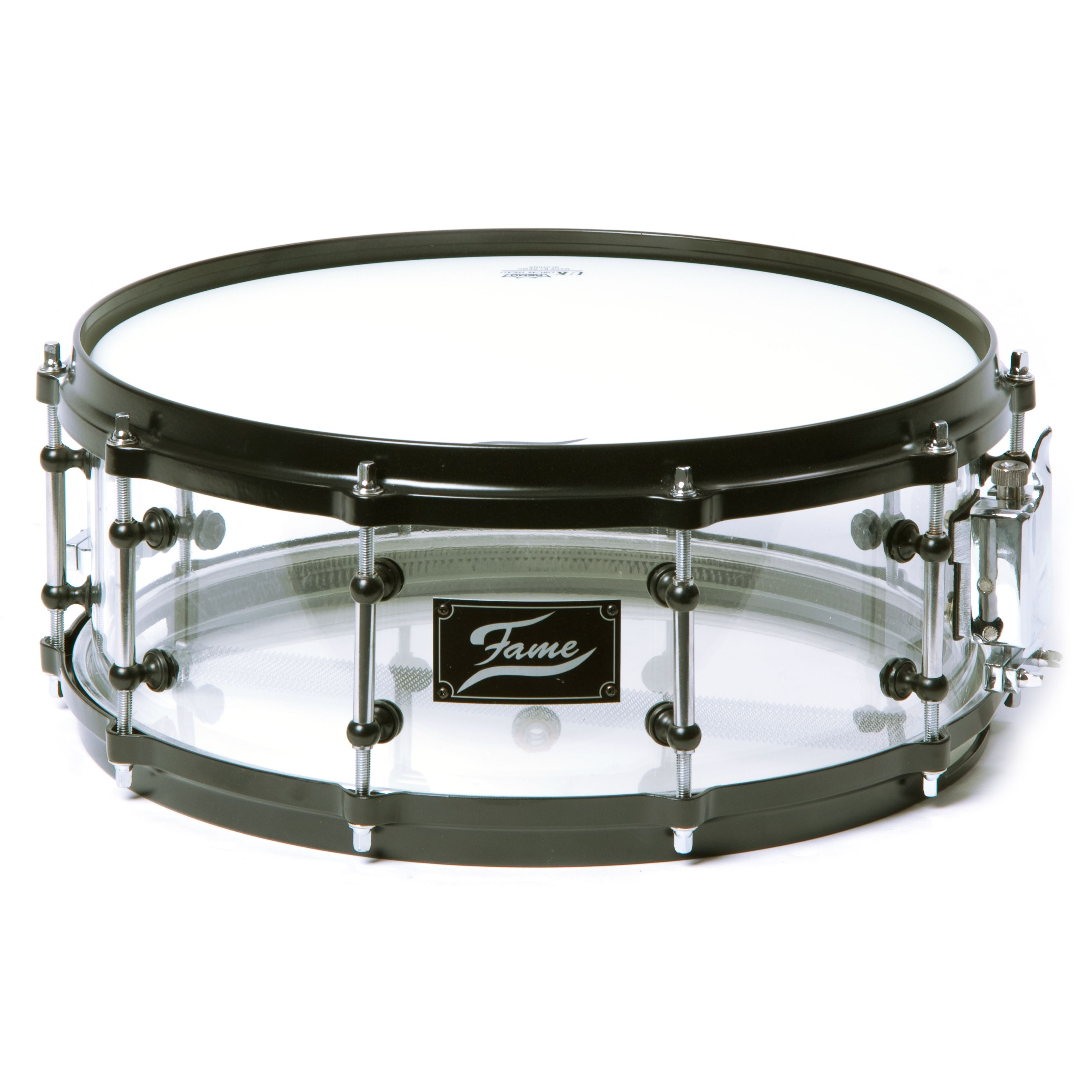Fame - Acryl Snare 14x5,5, #Clear, Black HW Acrylic snare 14x5.5
