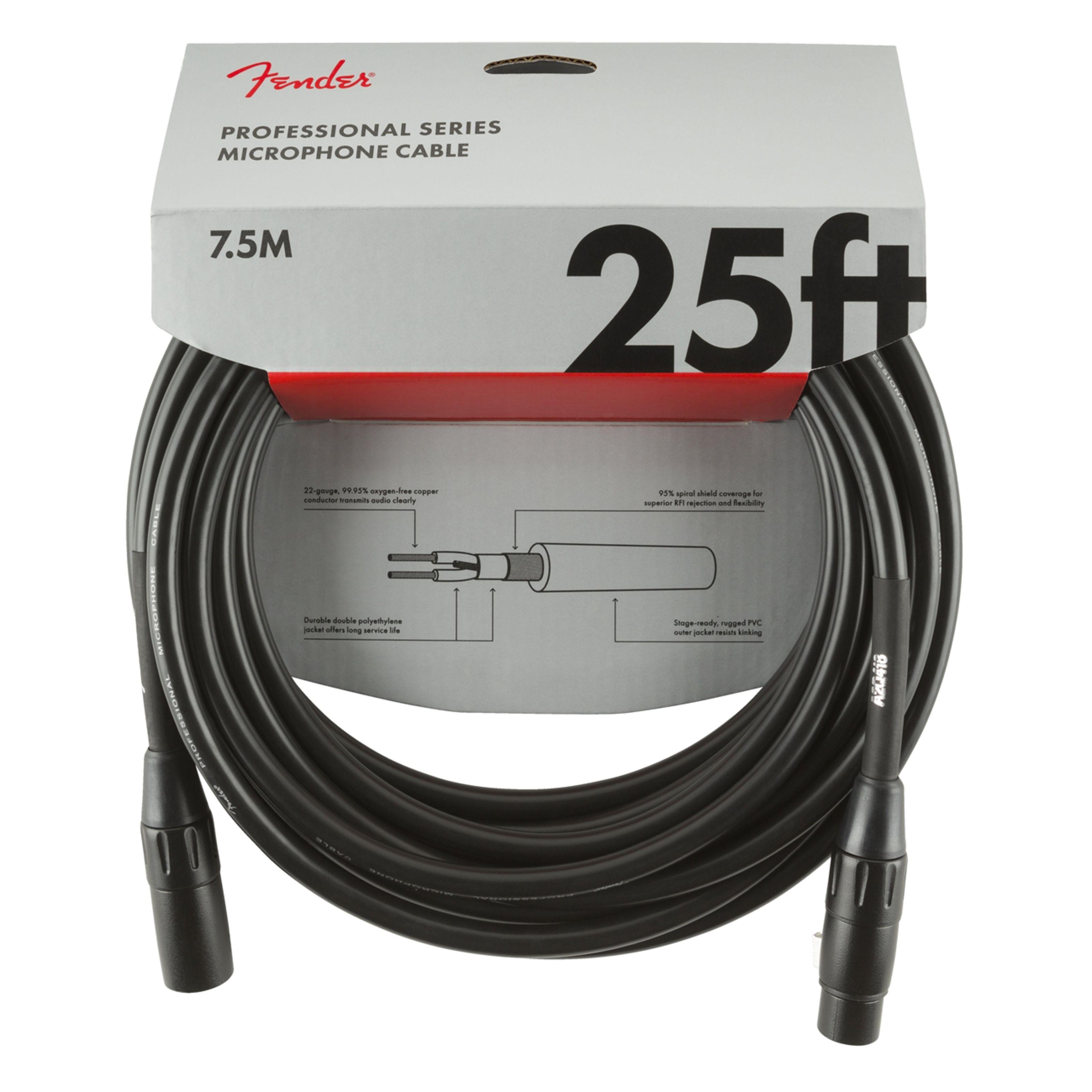 Fender - Professional Mircrophone Cable 7,5m BLK