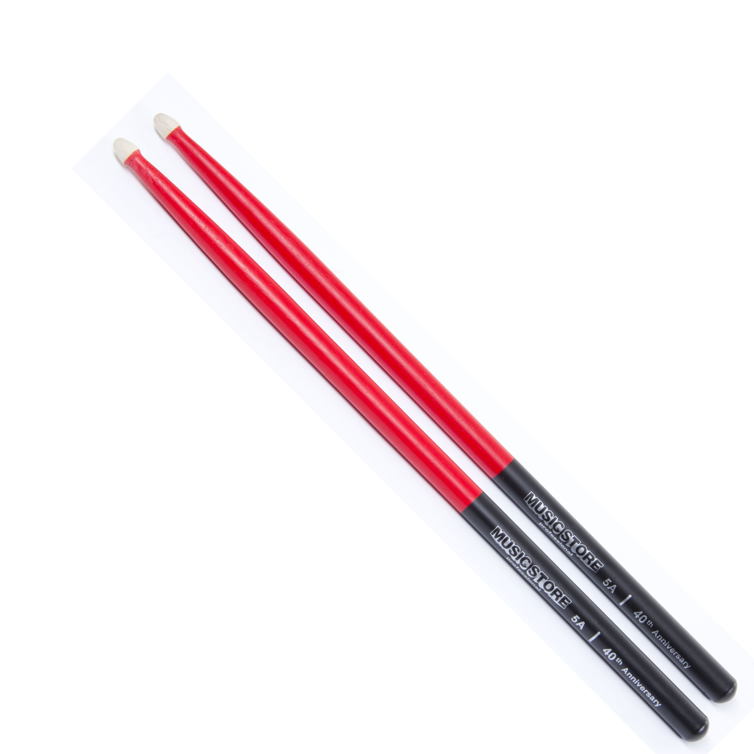 MUSIC STORE - 5A 40th Anniversary Sticks, Black/Red 5A Red/Black BARCODE