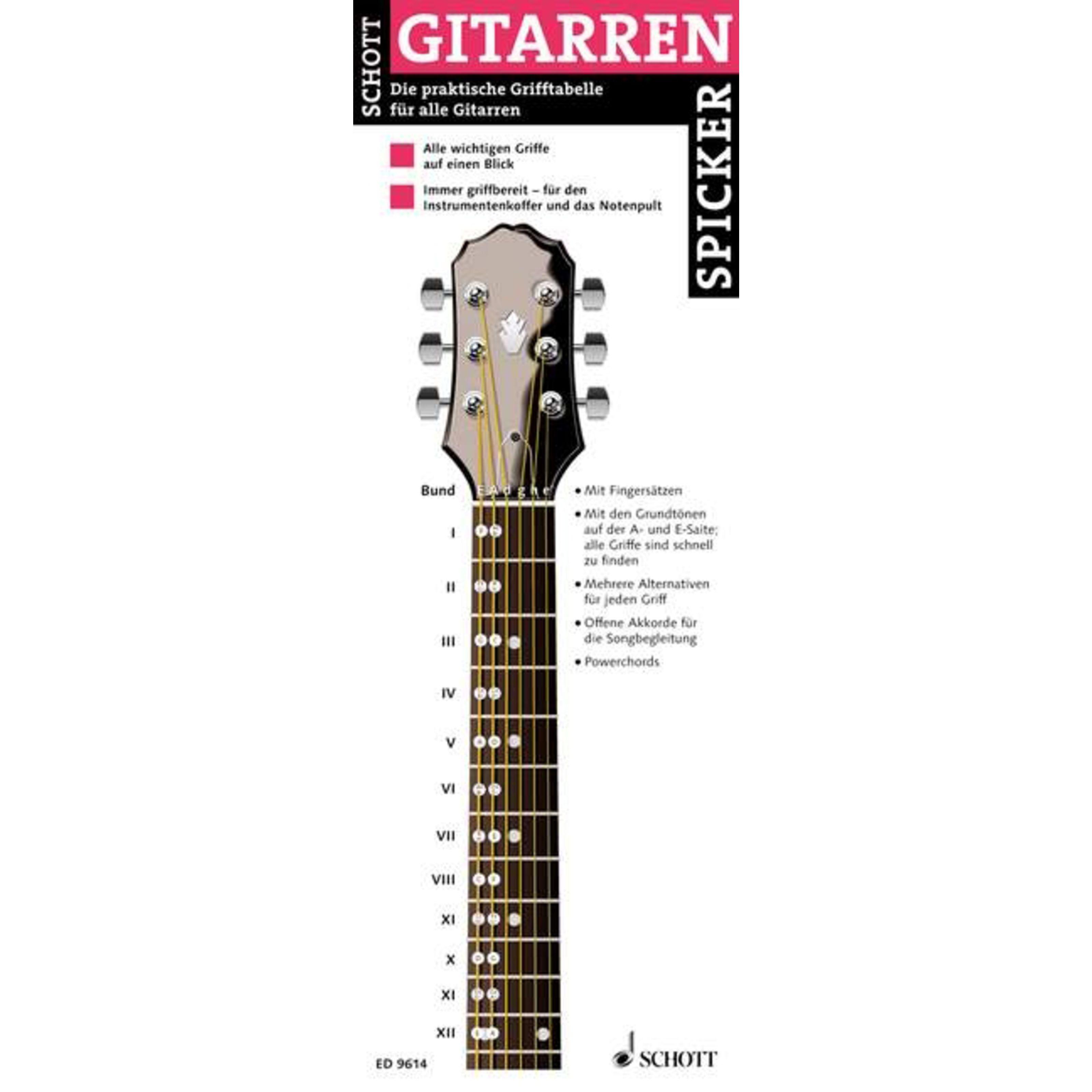 Schott Music - Gitarren-Spicker Grifftabelle für Gitarren ED 9614