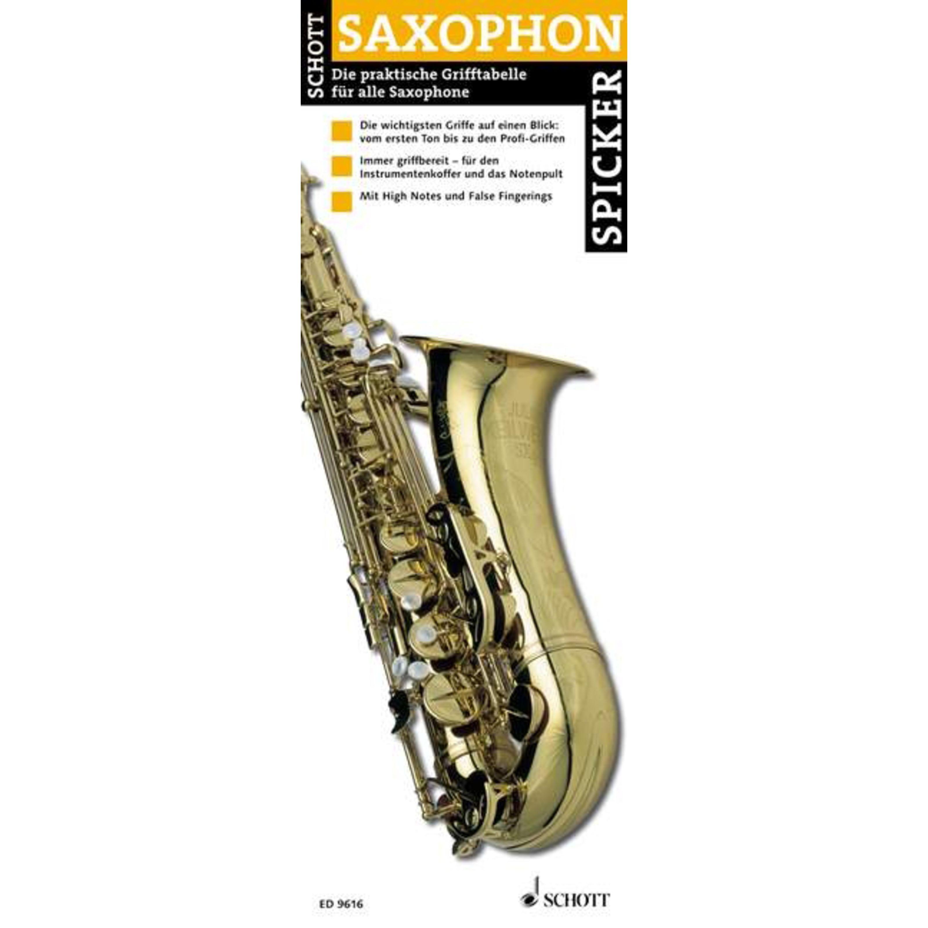 Schott Music - Saxophon-Spicker Grifftabelle für Saxophon ED 9616
